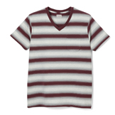 Ombre Bordered V Neck T-shirt - OV
