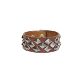 Leather Cuff w/ Pyramid Diamond Studs (Small) - CSS