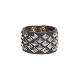 Leather Cuff w/ Pyramid Diamond Studs (large) - CSL