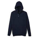 Indigo Knit Hooded Sweatshirt - HP1