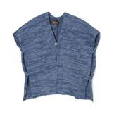 Denim Yarn-Hand Woven Split Poncho - DP