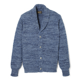 Denim Yarn-Hand Woven Shawl Cardigan - DS